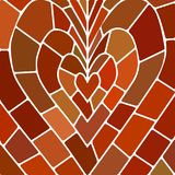 Abstract vector stained-glass mosaic background. Red and brown heart Stock Photography