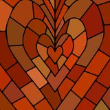 Abstract vector stained-glass mosaic background. Red and brown heart vector illustration