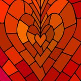 Abstract vector stained-glass mosaic background. Red and orange heart Royalty Free Stock Photography