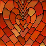 Abstract vector stained-glass mosaic background. Red and orange heart stock illustration