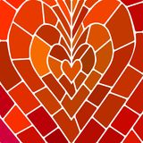 Abstract vector stained-glass mosaic background. Red and orange heart Royalty Free Stock Photo