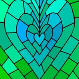 Abstract vector stained-glass mosaic background. Teal heart Royalty Free Stock Photos