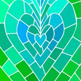 Abstract vector stained-glass mosaic background. Teal heart Royalty Free Stock Images