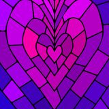 Abstract vector stained-glass mosaic background. Violet heart Stock Photo