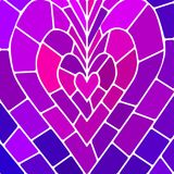 Abstract vector stained-glass mosaic background. Violet heart Royalty Free Stock Image