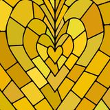 Abstract vector stained-glass mosaic background. Yellow and brown heart stock illustration