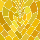 Abstract vector stained-glass mosaic background. Yellow and brown heart royalty free illustration