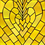 Abstract vector stained-glass mosaic background. Yellow heart stock illustration