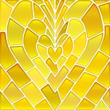 Abstract vector stained-glass mosaic background. Yellow heart vector illustration