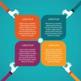 Abstract vector 4 stappen infographic malplaatje in vlakke stijl voor de regeling van het lay-outwerkschema, genummerd opties, gr Royalty-vrije Stock Afbeeldingen