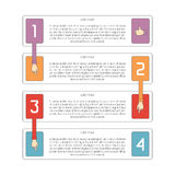 Abstract vector 4 steps infographic template in flat outline style for layout workflow scheme, numbered options, chart or diagram Royalty Free Stock Photo