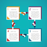 Abstract vector 4 steps infographic template in flat style for layout workflow scheme, numbered options, chart or diagram Stock Image