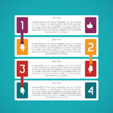Abstract vector 4 steps infographic template in flat style for layout workflow scheme, numbered options, chart or diagram.  Royalty Free Stock Photos