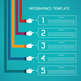Abstract vector 5 steps infographic template in flat style for layout workflow scheme, numbered options, chart or diagram Royalty Free Stock Photos