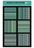 Abstract vector strip pattern set. Greens colors. Geometric stripe pattern vector wallpaper. editable illustration Stock Image