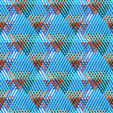 Abstract vector striped background. Vector bold seamless pattern with diagonal colorful lines and stripes in multiple bright blue colors. Geometric striped stock illustration