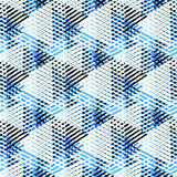 Abstract vector striped background. Vector bold seamless pattern with dynamic diagonal crossing lines and stripes in black, blue, white colors. Geometric striped vector illustration