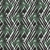 Abstract vector striped background. Vector geometric seamless pattern with line and zigzags in black, white green colors. Striped modern bold print in 1980s Royalty Free Stock Photos