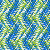 Abstract vector striped background. Vector geometric seamless pattern with line and zigzags in blue, green, white colors. Striped modern bold print in 1980s Stock Images