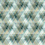 Abstract vector striped background. Vector geometric seamless pattern with line and zigzags in mint green, blue, beige colors. Striped modern bold print in 1980s stock illustration