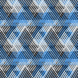 Abstract vector striped background. Vector geometric seamless pattern with lines and overlapping triangles in black, white blue. Striped modern bold print in Stock Images