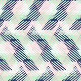 Abstract vector striped background. Vector geometric seamless pattern with lines and triangles in pastel mint, pink, blue colors. Striped modern bold print in royalty free illustration