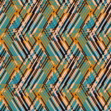 Abstract vector striped background. Vector geometric seamless pattern with lines and zigzags in bright blue, yellow colors. Striped modern bold print in 1980s Royalty Free Stock Photo