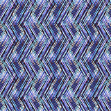 Abstract vector striped background. Vector geometric seamless pattern with lines and zigzags in bright electric blue colors. Striped modern bold print in 1980s Royalty Free Stock Photo