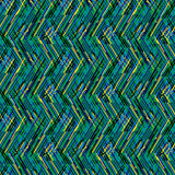 Abstract vector striped background. Vector geometric seamless pattern with lines and zigzags in bright green black colors. Striped modern bold print in 1980s Royalty Free Stock Images