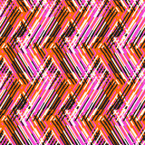 Abstract vector striped background. Vector geometric seamless pattern with lines and zigzags in bright orange, pink colors. Striped modern bold print in 1980s stock illustration
