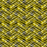 Abstract vector striped background. Vector geometric seamless pattern with lines and zigzags in bright yellow black colors. Striped modern bold print in 1980s Stock Image