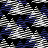 Abstract vector striped background. Vector seamless geometric pattern with striped triangles, abstract dynamic shapes in black, blue, white colors. Hand drawn stock illustration