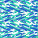Abstract vector striped background. Vector seamless geometric pattern with striped triangles, abstract dynamic shapes in bright blue colors. Hand drawn Royalty Free Stock Image