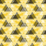 Abstract vector striped background. Vector seamless geometric pattern with striped triangles, abstract dynamic shapes in bright colors. Hand drawn background Royalty Free Stock Photo