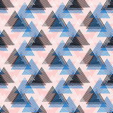 Abstract vector striped background. Vector seamless geometric pattern with striped triangles, abstract dynamic shapes in pink, blue white, black colors. Hand stock illustration