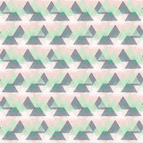 Abstract vector striped background. Vector seamless geometric pattern with striped triangles, abstract dynamic shapes in pink, green, white colors. Hand drawn Stock Photo