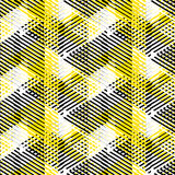 Abstract vector striped background. Vector seamless geometric pattern with striped triangles, abstract dynamic shapes in white, black yellow colors. Hand drawn stock illustration