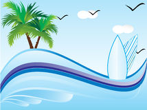 Abstract vector summer holiday1. With blue background Royalty Free Stock Image