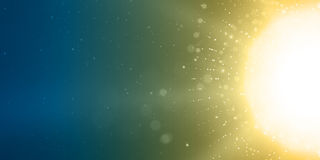 Abstract vector sun glow red background. Points chaotically flying in space with bokeh. Flying debris with dof. Futuristic technology style. Elegant background Royalty Free Stock Image
