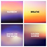 Abstract vector sunset blurred background set. Square blurred background - sky clouds colors With love quotes. Stock Image