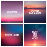 Abstract vector sunset blurred background set. Square blurred background - sky clouds colors With love quotes. Royalty Free Stock Images