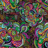 Abstract vector swirl ethnic seamless pattern.Multicolor Stock Image