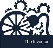 Abstract vector symbolic illustration on a white background for a backdrop or web icons for an inventor. Gears spin, the wheel turns, and talented people invent Stock Images