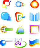 Abstract vector symbols. 12 elements four your design, isolated on white, eps 8 format stock illustration