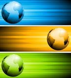 Abstract vector tech banners with globe Royalty Free Stock Photo
