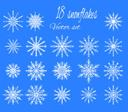Set 18 white different snowflakes of handmade. New Year's symbols. Snowflakes for design. Winter objects. Festive elements. Snowflake Doodle. Snowflake Sketch stock illustration