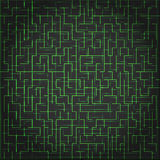 Abstract vector technology background, digital maze. Abstract vector technology background. With green lines on black. Digital maze concept Stock Photography