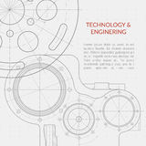 Abstract vector technology and engineering background with technical, mechanical drawing. Blueprint. Banner with mechanism engineering, blueprint structure of Royalty Free Stock Image