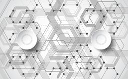 Abstract Vector Technology hexagon style illustration and geometric background. Royalty Free Stock Images