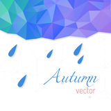 Abstract vector template with raindrops and triangular background. Autumn theme. Royalty Free Stock Images